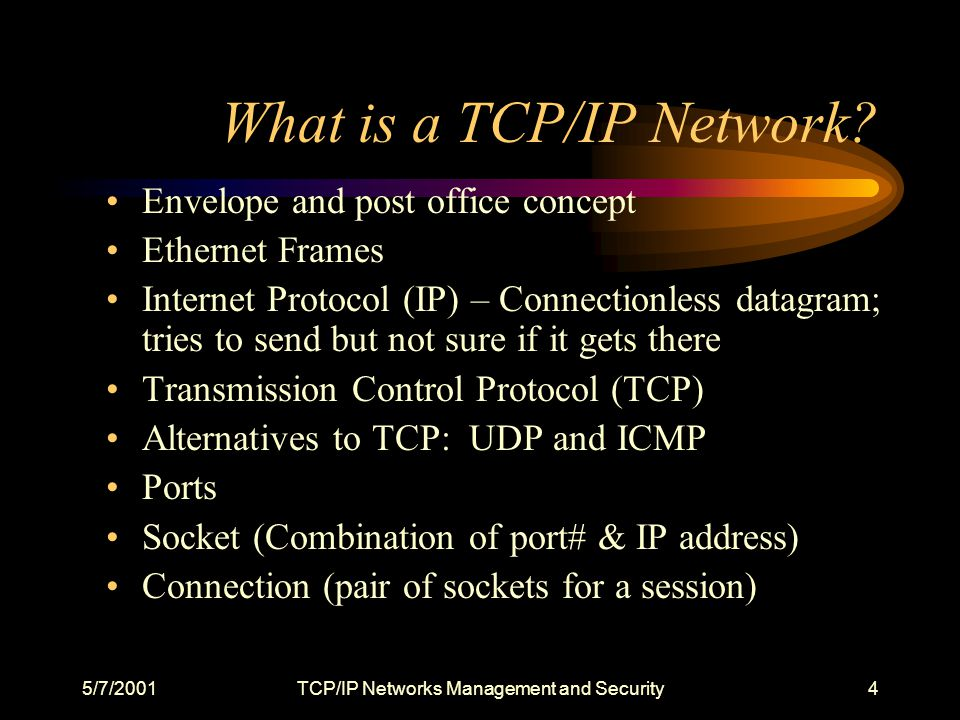 5/7/2001TCP/IP Networks Management and Security25 Router Risks and Controls Default passwords and clear text passwords transmitted over the network Change passwords periodically with timeouts No console passwordsAdd passwords with timeouts Community strings = PUBLIC, PRIVATE and pass network in clear text Change Community strings and use encrypted SNMP