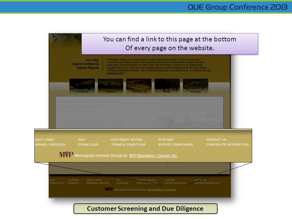 Customer Screening and Due Diligence You can find a link to this page at the bottom Of every page on the website.