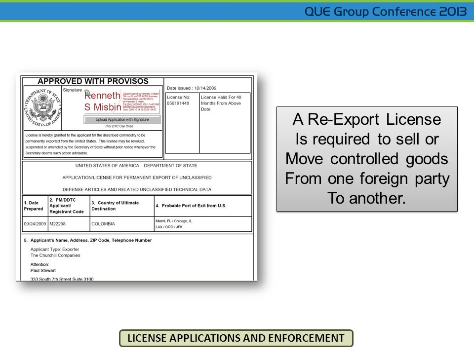 A Re-Export License Is required to sell or Move controlled goods From one foreign party To another. A Re-Export License Is required to sell or Move co