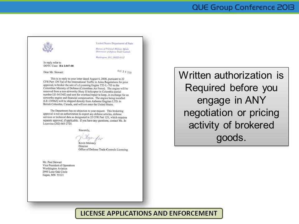 Written authorization is Required before you engage in ANY negotiation or pricing activity of brokered goods.