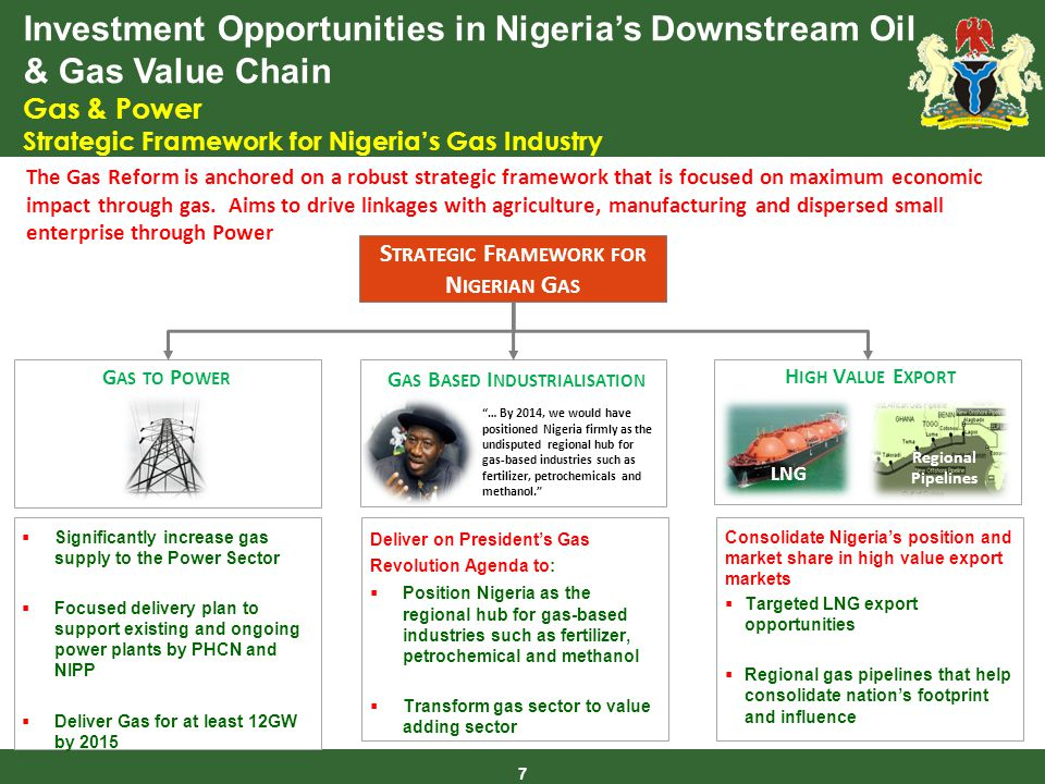 Investment Opportunities in Nigerias Downstream Oil & Gas Value Chain Gas & Power Strategic Framework for Nigerias Gas Industry 7 The Gas Reform is anchored on a robust strategic framework that is focused on maximum economic impact through gas.