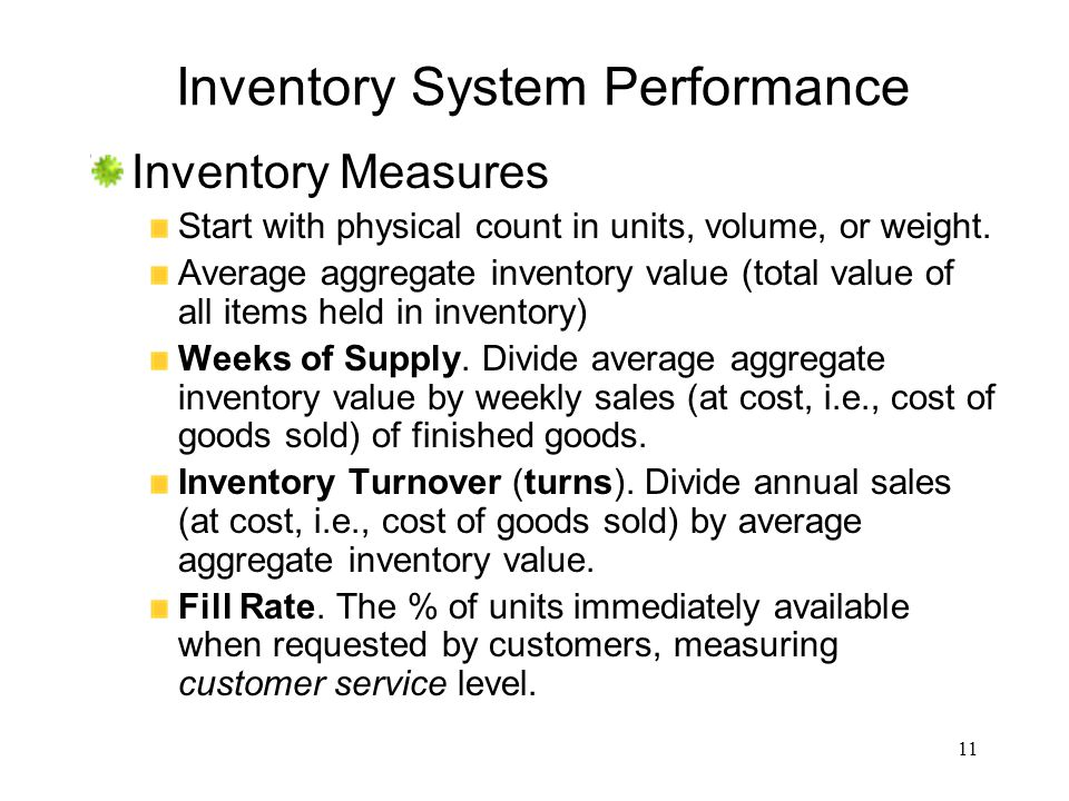 11 Inventory System Performance Inventory Measures Start with physical count in units, volume, or weight. Average aggregate inventory value (total val