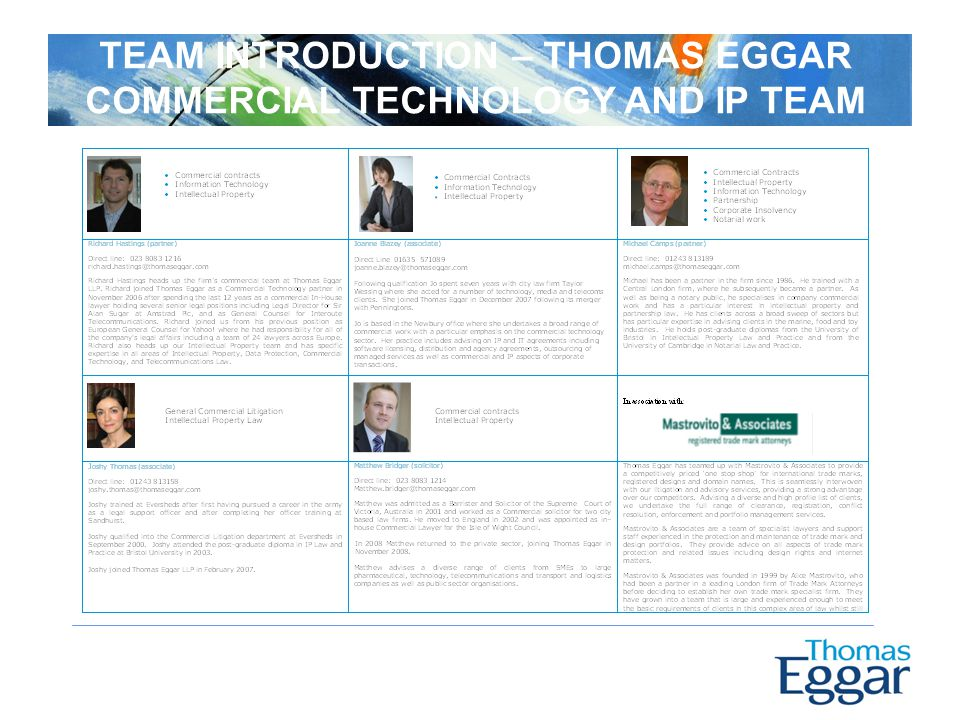 TEAM INTRODUCTION – THOMAS EGGAR COMMERCIAL TECHNOLOGY AND IP TEAM