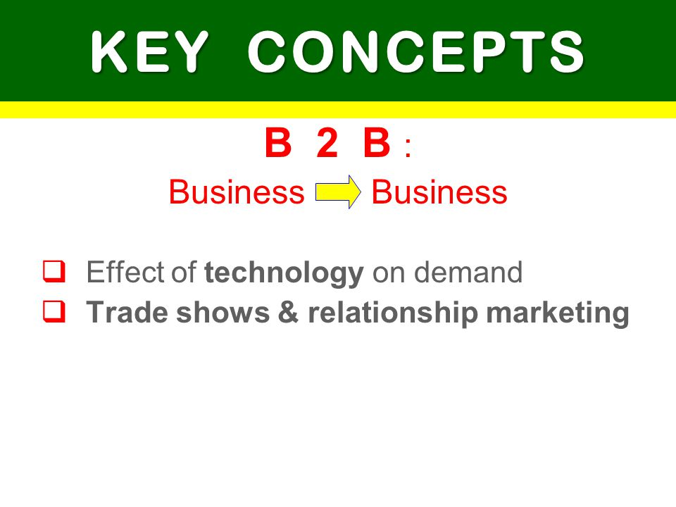 B 2 B : Business KEY CONCEPTS Effect of technology on demand Trade shows & relationship marketing