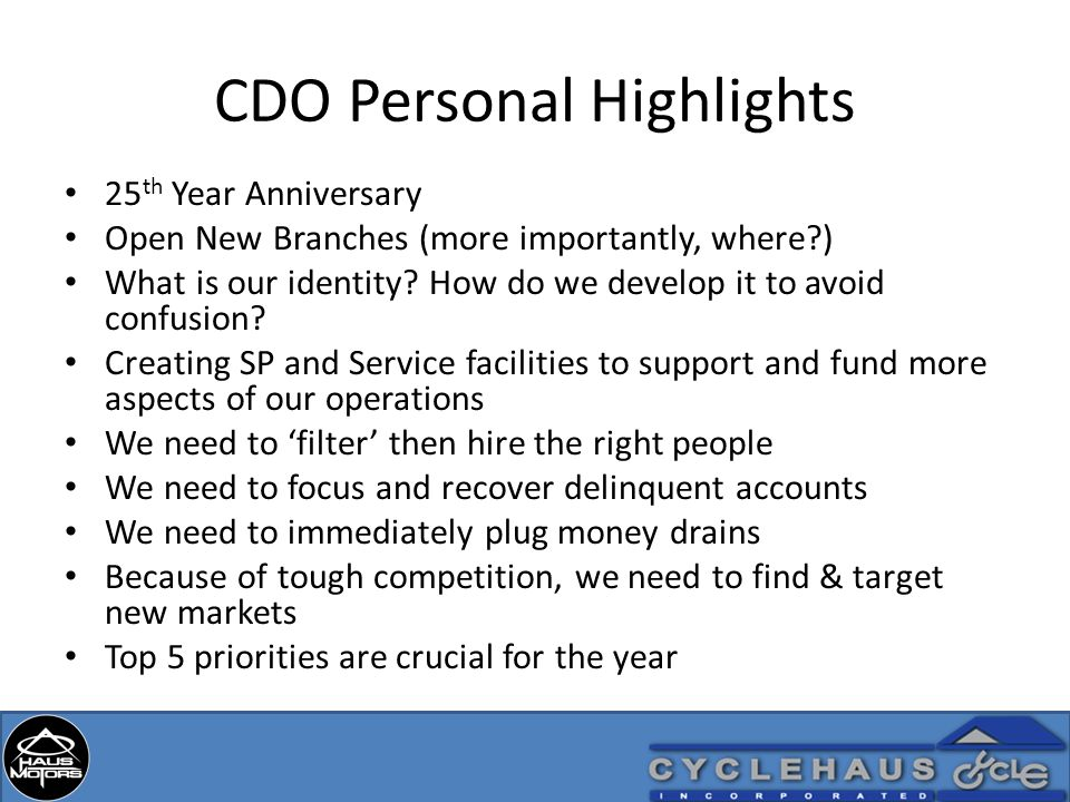 CDO Personal Highlights 25 th Year Anniversary Open New Branches (more importantly, where?) What is our identity.