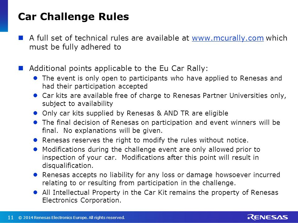 Car Challenge Rules A full set of technical rules are available at www.mcurally.com which must be fully adhered towww.mcurally.com Additional points a
