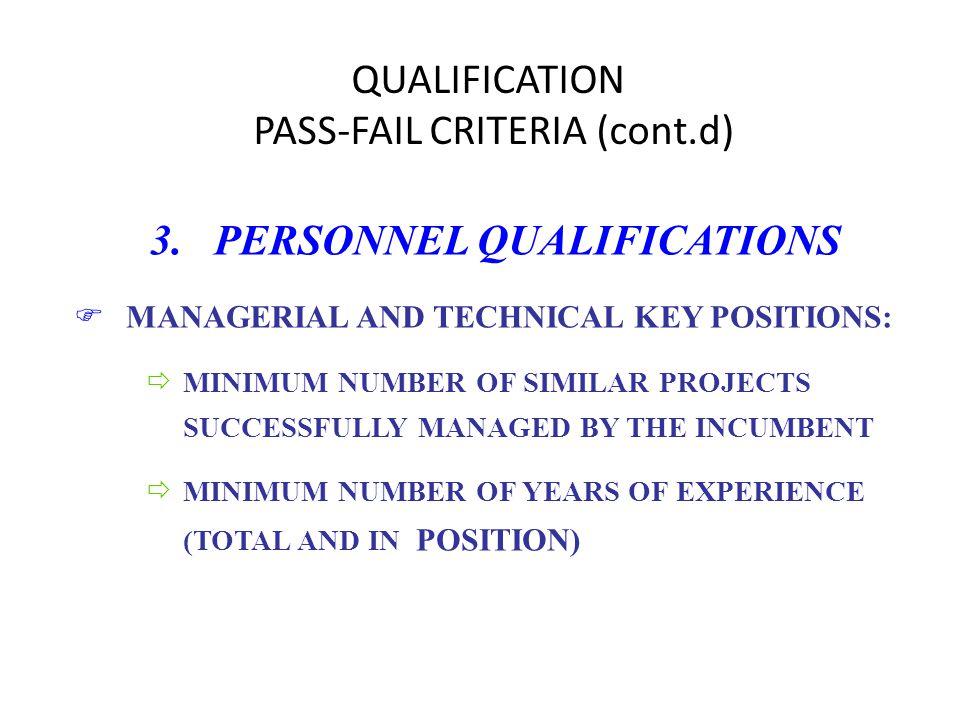 QUALIFICATION PASS-FAIL CRITERIA (cont.d) 3.