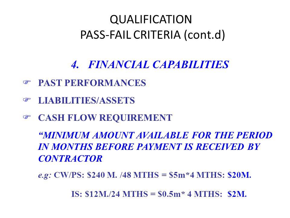 QUALIFICATION PASS-FAIL CRITERIA (cont.d) 4. FINANCIAL CAPABILITIES FPAST PERFORMANCES FLIABILITIES/ASSETS FCASH FLOW REQUIREMENT MINIMUM AMOUNT AVAIL