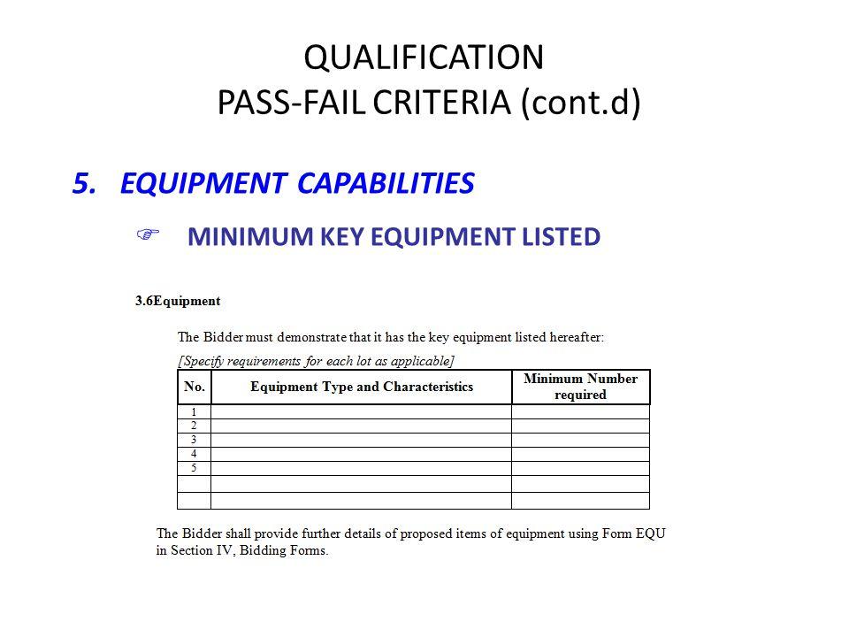 5. EQUIPMENT CAPABILITIES FMINIMUM KEY EQUIPMENT LISTED QUALIFICATION PASS-FAIL CRITERIA (cont.d)