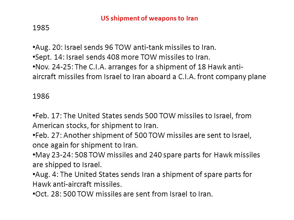 US shipment of weapons to Iran 1985 Aug. 20: Israel sends 96 TOW anti-tank missiles to Iran.
