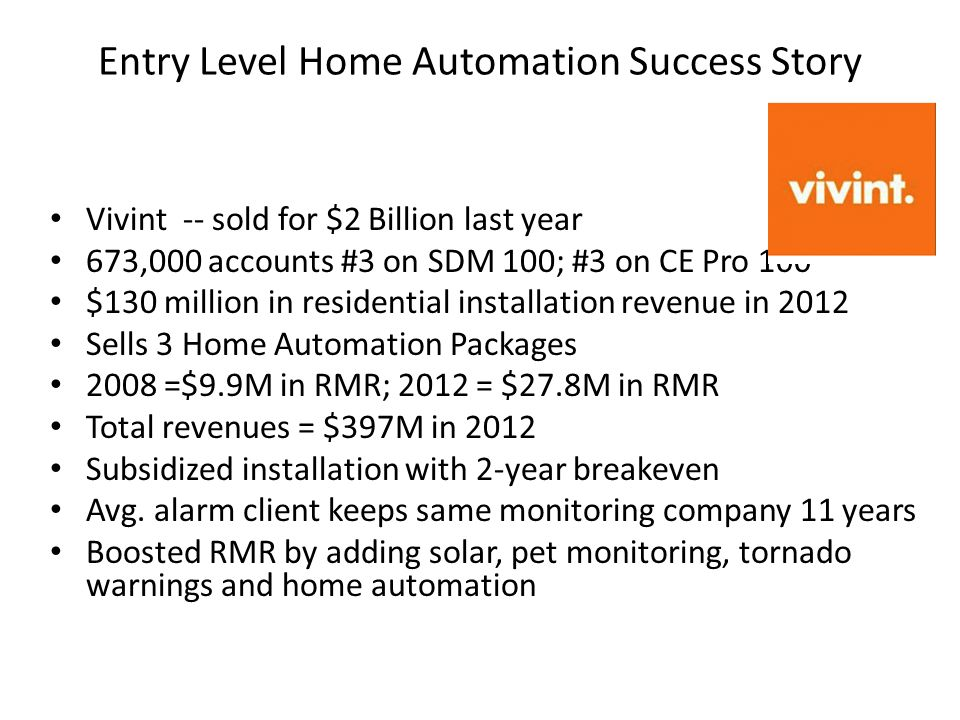 Entry Level Home Automation Success Story Vivint -- sold for $2 Billion last year 673,000 accounts #3 on SDM 100; #3 on CE Pro 100 $130 million in res