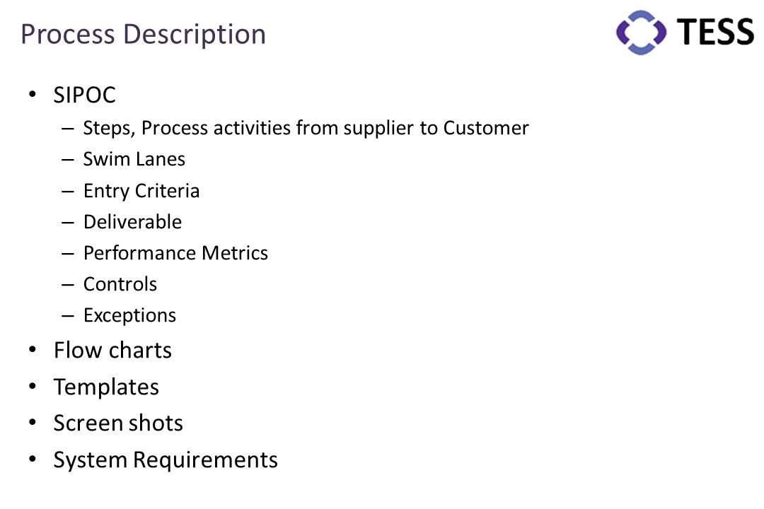 Process Description SIPOC – Steps, Process activities from supplier to Customer – Swim Lanes – Entry Criteria – Deliverable – Performance Metrics – Co