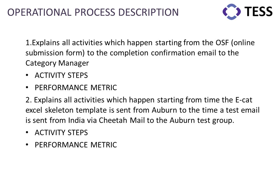 OPERATIONAL PROCESS DESCRIPTION 1.Explains all activities which happen starting from the OSF (online submission form) to the completion confirmation e