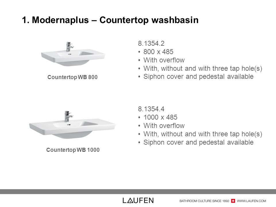 1. Modernaplus – Countertop washbasin Countertop WB 800 Countertop WB 1000 8.1354.2 800 x 485 With overflow With, without and with three tap hole(s) S