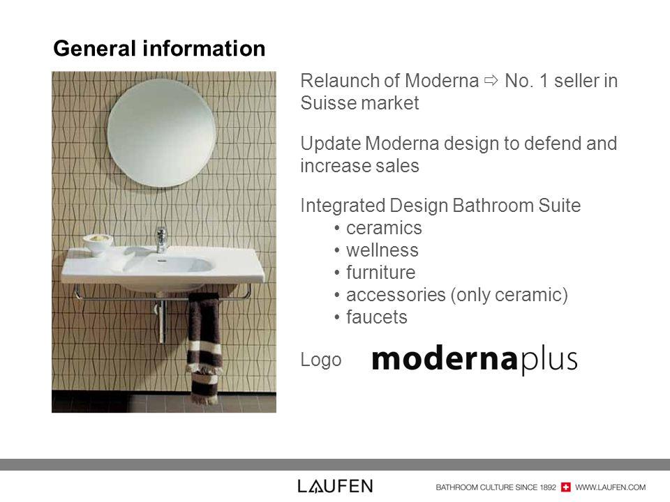 General information Relaunch of Moderna No. 1 seller in Suisse market Update Moderna design to defend and increase sales Integrated Design Bathroom Su