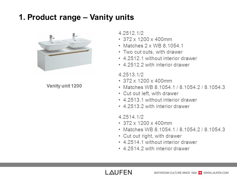 1. Product range – Vanity units 4.2512.1/2 372 x 1200 x 400mm Matches 2 x WB 8.1054.1 Two cut outs, with drawer 4.2512.1 without interior drawer 4.251