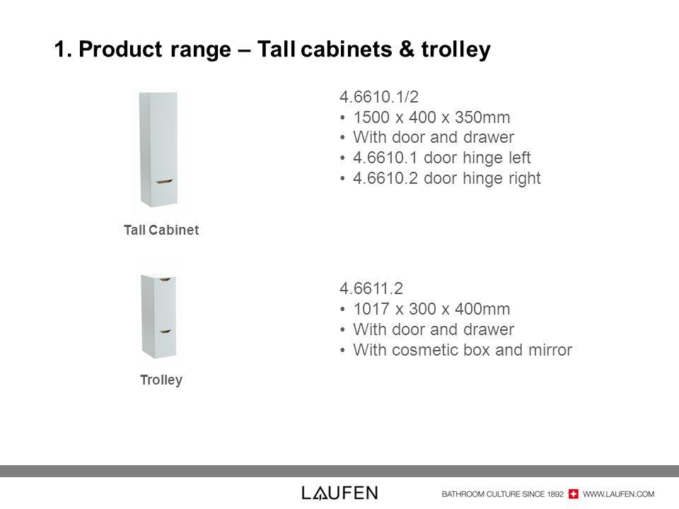 1. Product range – Tall cabinets & trolley 4.6610.1/2 1500 x 400 x 350mm With door and drawer 4.6610.1 door hinge left 4.6610.2 door hinge right 4.661