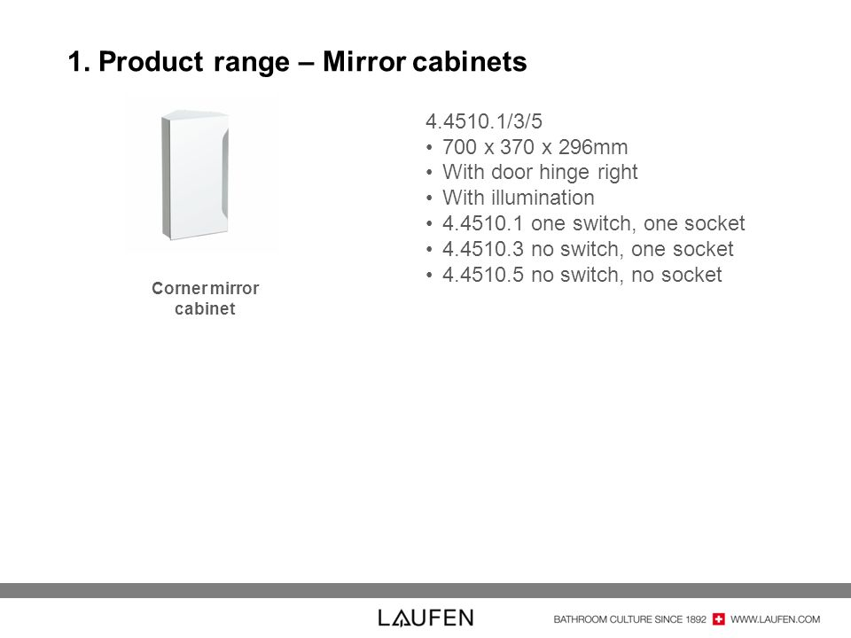 1. Product range – Mirror cabinets 4.4510.1/3/5 700 x 370 x 296mm With door hinge right With illumination 4.4510.1 one switch, one socket 4.4510.3 no