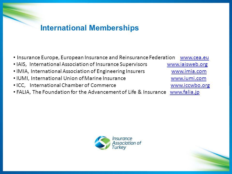 International Memberships Insurance Europe, European Insurance and Reinsurance Federation www.cea.euwww.cea.eu IAIS, International Association of Insurance Supervisors www.iaisweb.orgwww.iaisweb.org IMIA, International Association of Engineering Insurers www.imia.comwww.imia.com IUMI, International Union of Marine Insurance www.iumi.comwww.iumi.com ICC, International Chamber of Commerce www.iccwbo.orgwww.iccwbo.org FALIA, The Foundation for the Advancement of Life & Insurance www.falia.jpwww.falia.jp