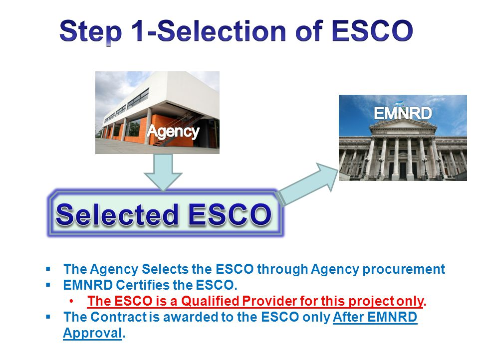 The Agency Selects the ESCO through Agency procurement EMNRD Certifies the ESCO. The ESCO is a Qualified Provider for this project only. The Contract