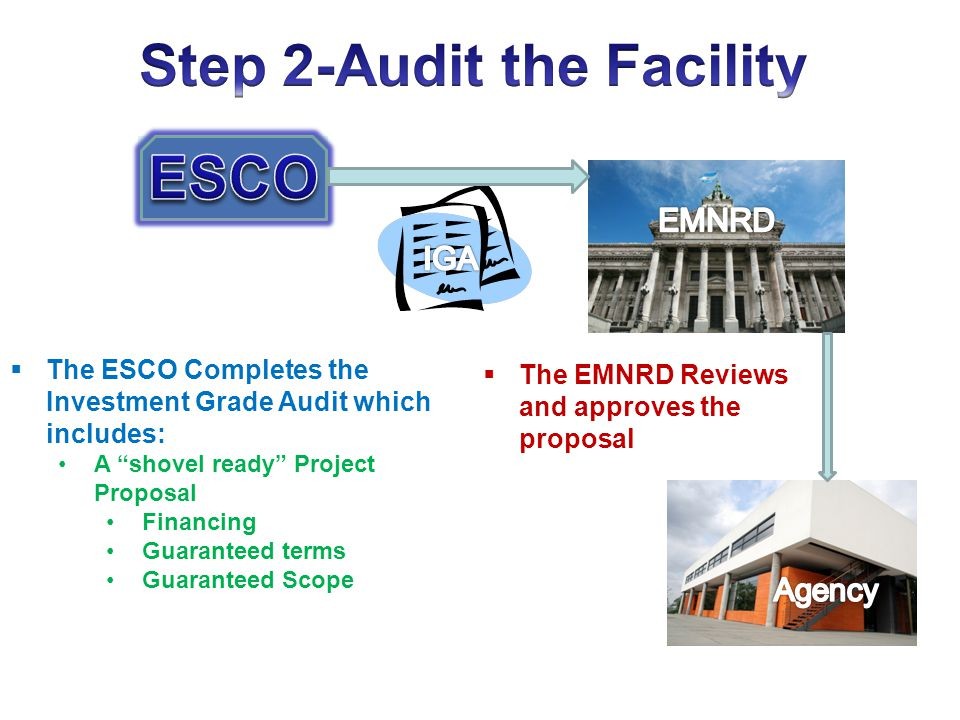 The ESCO Completes the Investment Grade Audit which includes: A shovel ready Project Proposal Financing Guaranteed terms Guaranteed Scope The EMNRD Re