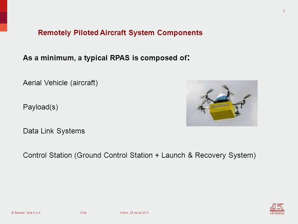 © Generali Italia S.p.A.Città 2 Milano, 29 Aprile 2014 As a minimum, a typical RPAS is composed of : Aerial Vehicle (aircraft) Payload(s) Data Link Systems Control Station (Ground Control Station + Launch & Recovery System) Remotely Piloted Aircraft System Components