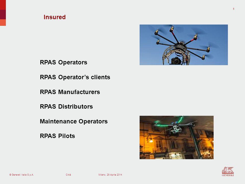 © Generali Italia S.p.A.Città 5 Milano, 29 Aprile 2014 RPAS Operators RPAS Operators clients RPAS Manufacturers RPAS Distributors Maintenance Operators RPAS Pilots Insured