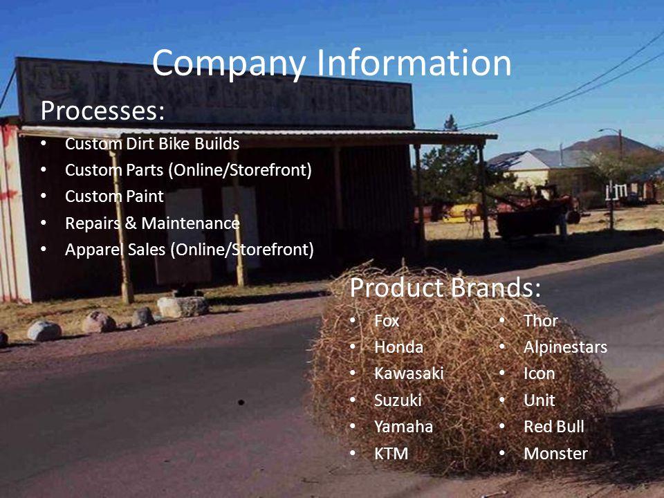 Company Information Processes: Custom Dirt Bike Builds Custom Parts (Online/Storefront) Custom Paint Repairs & Maintenance Apparel Sales (Online/Storefront) Product Brands: Fox Honda Kawasaki Suzuki Yamaha KTM Thor Alpinestars Icon Unit Red Bull Monster