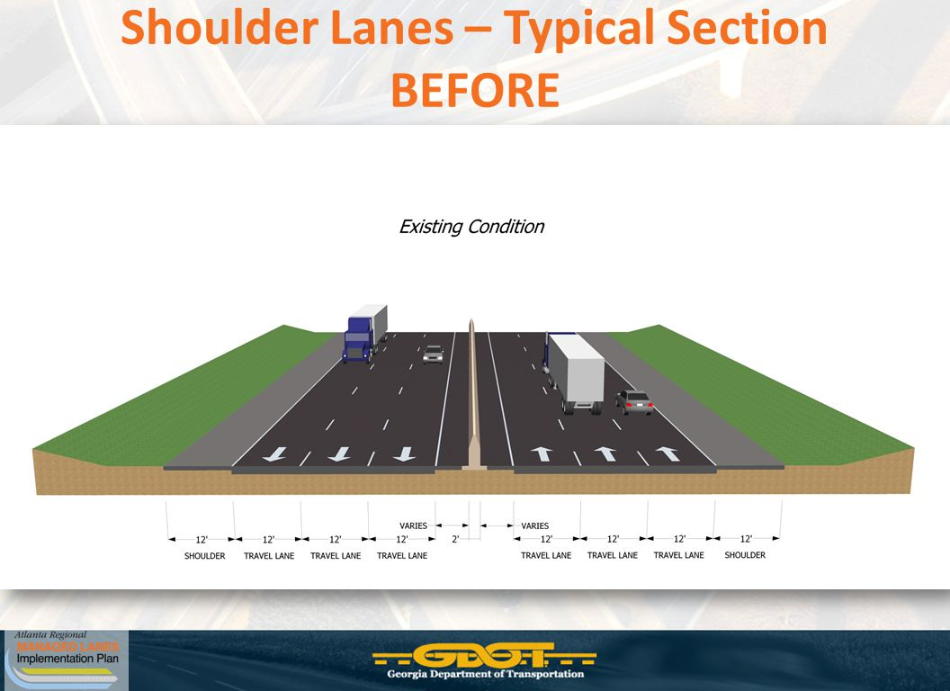 Shoulder Lanes – Typical Section BEFORE