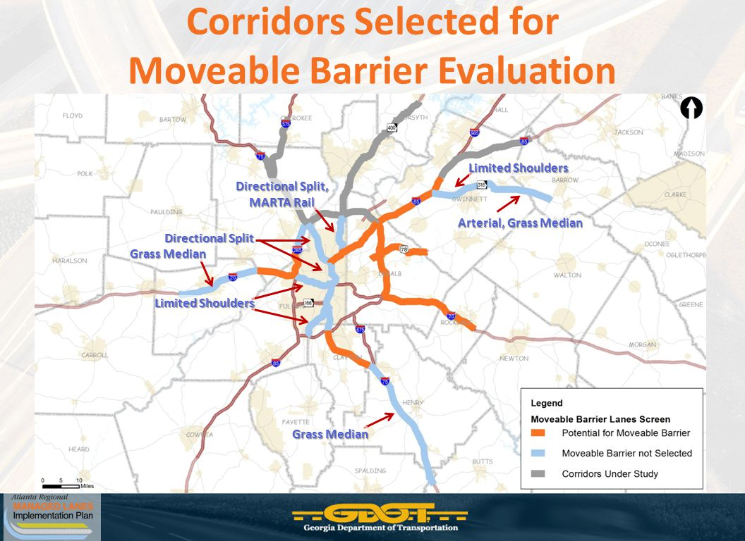 Corridors Selected for Moveable Barrier Evaluation Directional Split Directional Split, MARTA Rail Grass Median Limited Shoulders Grass Median Arterial, Grass Median Limited Shoulders