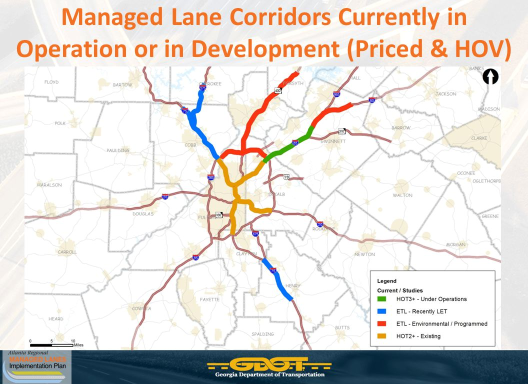 Managed Lane Corridors Currently in Operation or in Development (Priced & HOV)