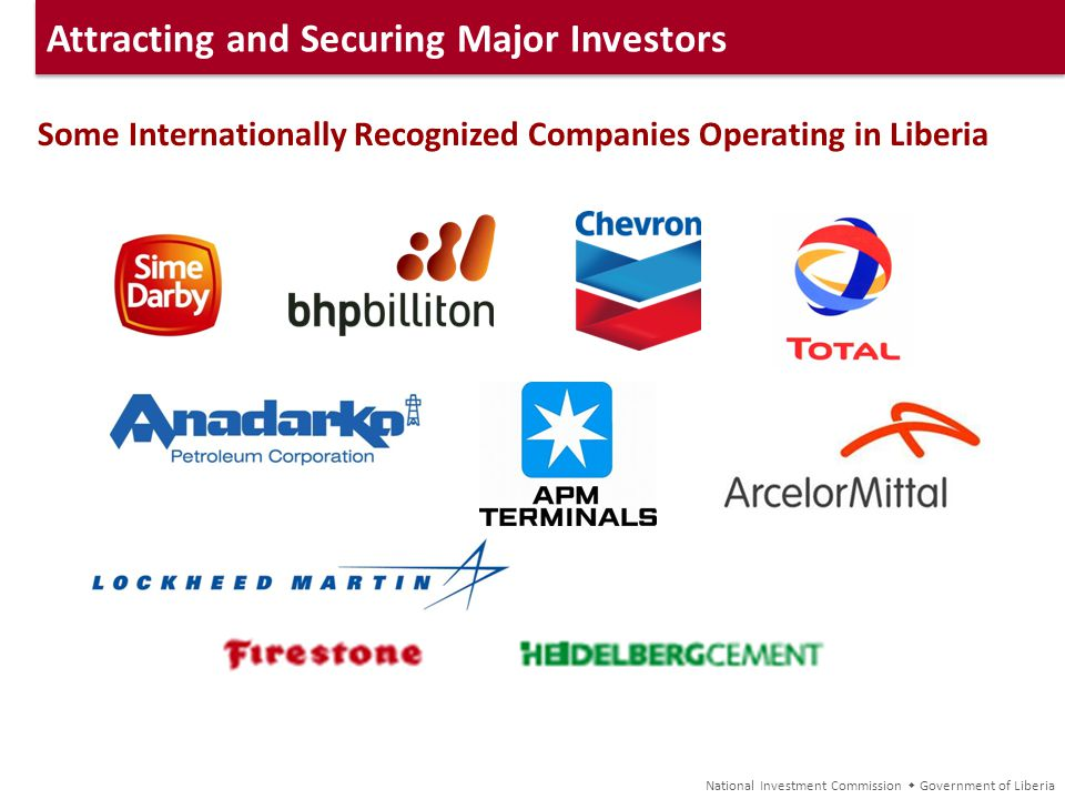 Attracting and Securing Major Investors Some Internationally Recognized Companies Operating in Liberia National Investment Commission Government of Li