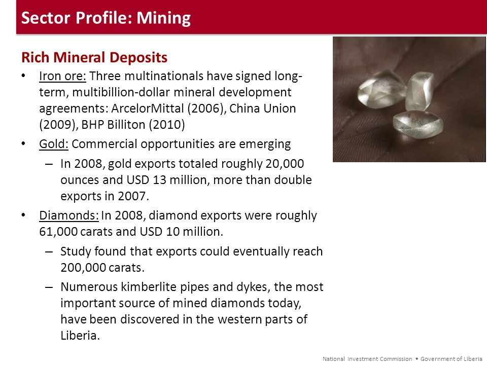 Sector Profile: Mining Rich Mineral Deposits Iron ore: Three multinationals have signed long- term, multibillion-dollar mineral development agreements