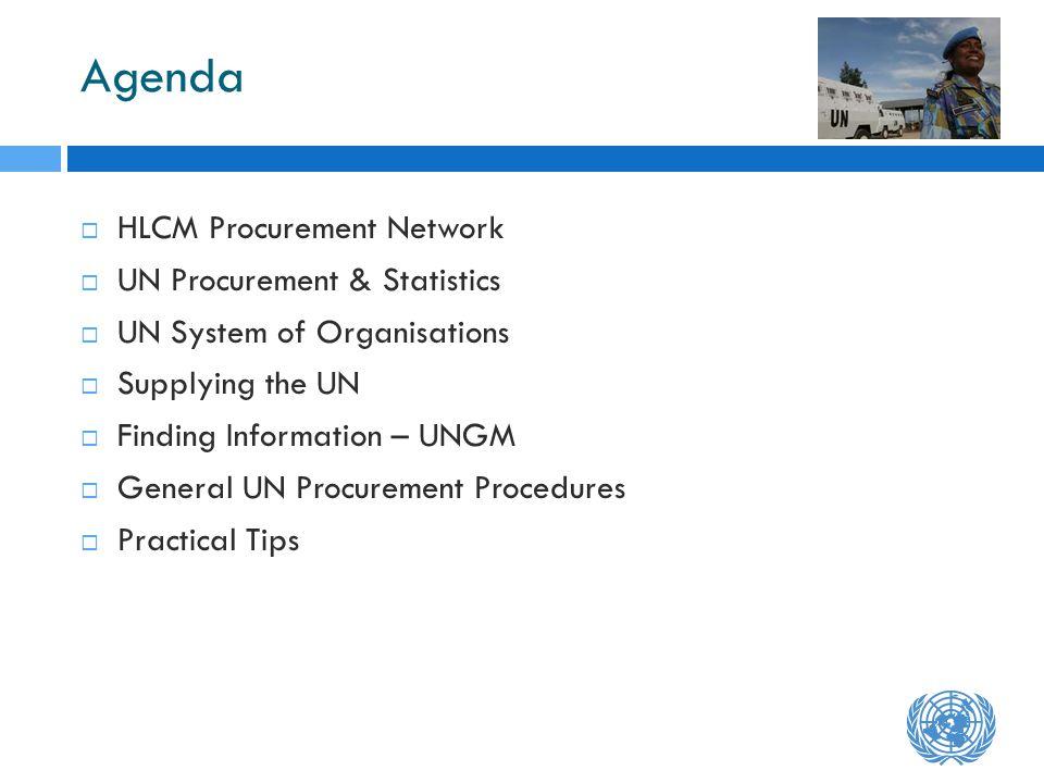 Agenda HLCM Procurement Network UN Procurement & Statistics UN System of Organisations Supplying the UN Finding Information – UNGM General UN Procurem
