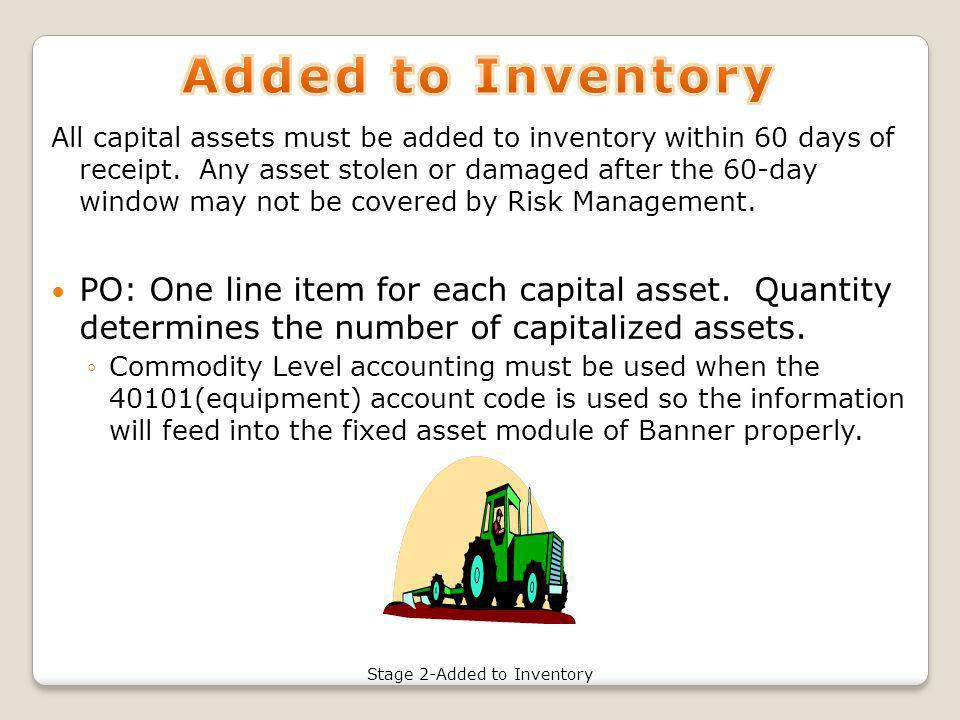 All capital assets must be added to inventory within 60 days of receipt.