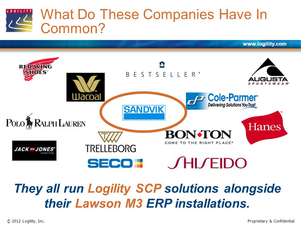 www.logility.com © 2012 Logility, Inc.Proprietary & Confidential What Do These Companies Have In Common? They all run Logility SCP solutions alongside