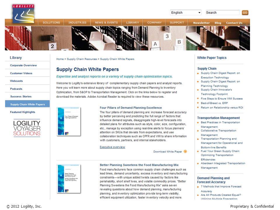 www.logility.com © 2012 Logility, Inc.Proprietary & Confidential