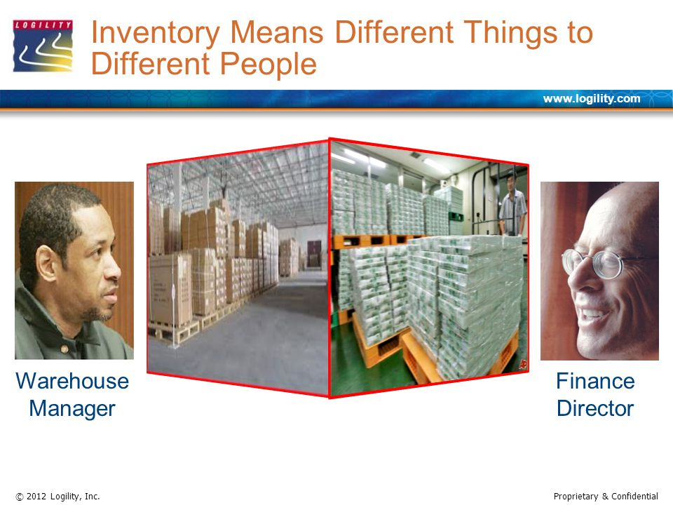 www.logility.com © 2012 Logility, Inc.Proprietary & Confidential Inventory Means Different Things to Different People Warehouse Manager Finance Director