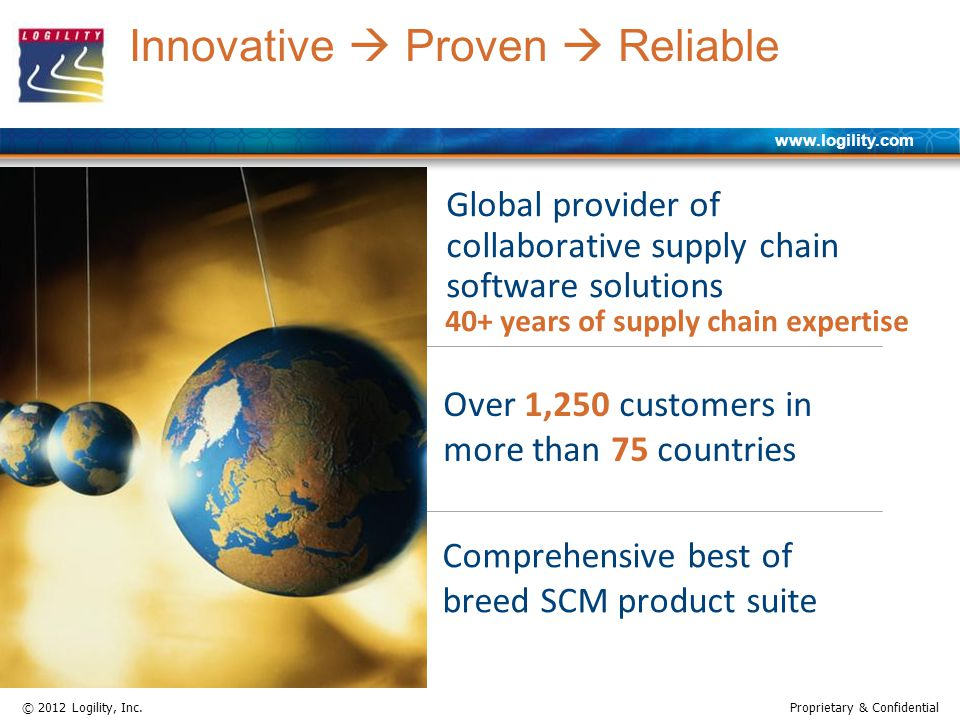 www.logility.com © 2012 Logility, Inc.Proprietary & Confidential Global provider of collaborative supply chain software solutions Over 1,250 customers