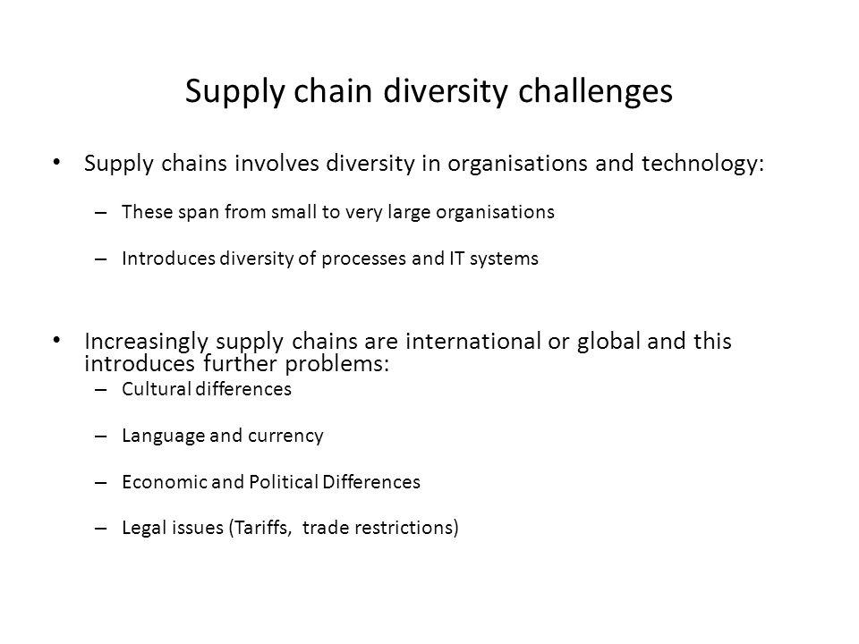Supply chain diversity challenges Supply chains involves diversity in organisations and technology: – These span from small to very large organisation
