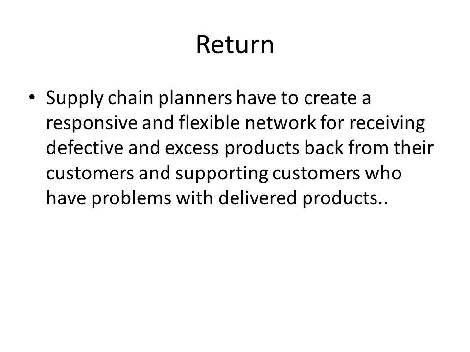 Return Supply chain planners have to create a responsive and flexible network for receiving defective and excess products back from their customers an