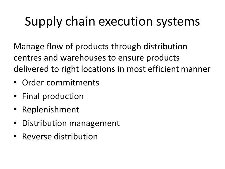 Supply chain execution systems Manage flow of products through distribution centres and warehouses to ensure products delivered to right locations in