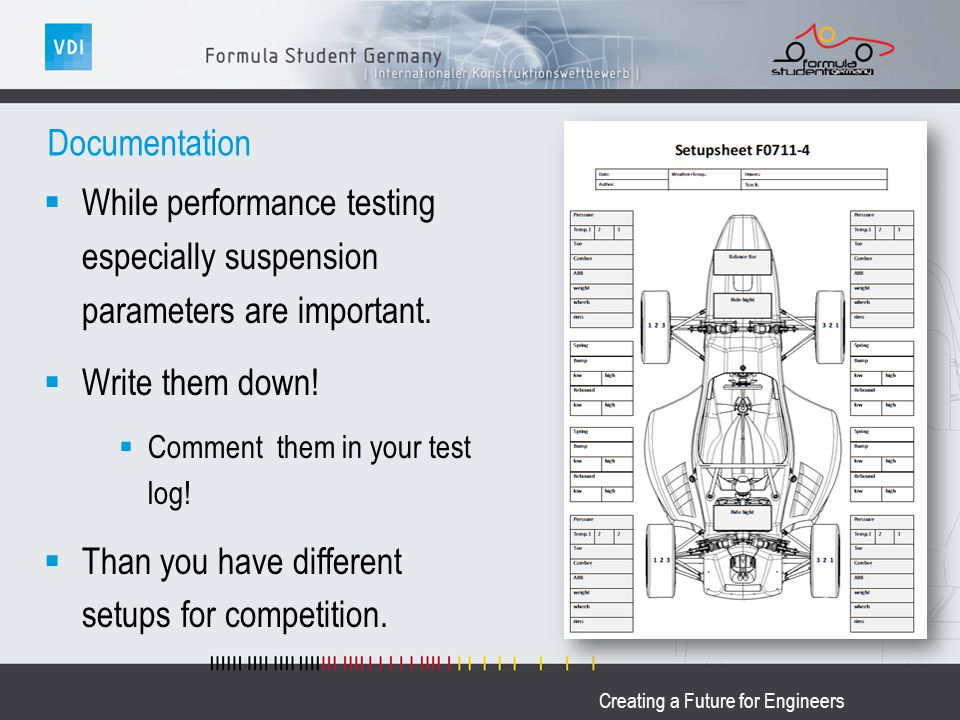 Creating a Future for Engineers Documentation While performance testing especially suspension parameters are important. Write them down! Comment them