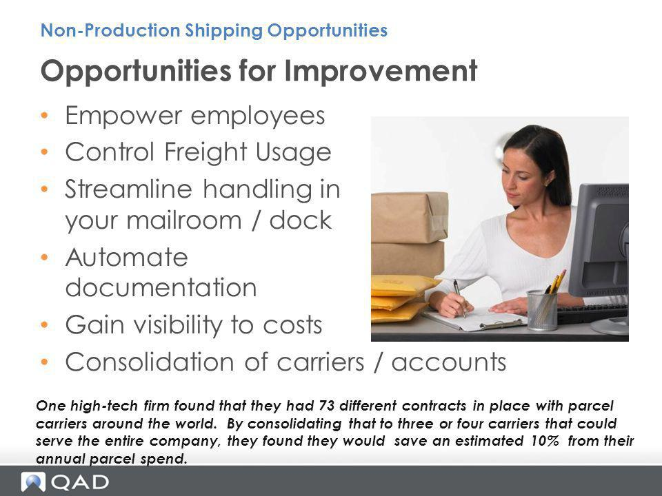 Empower employees Control Freight Usage Streamline handling in your mailroom / dock Automate documentation Gain visibility to costs Consolidation of c