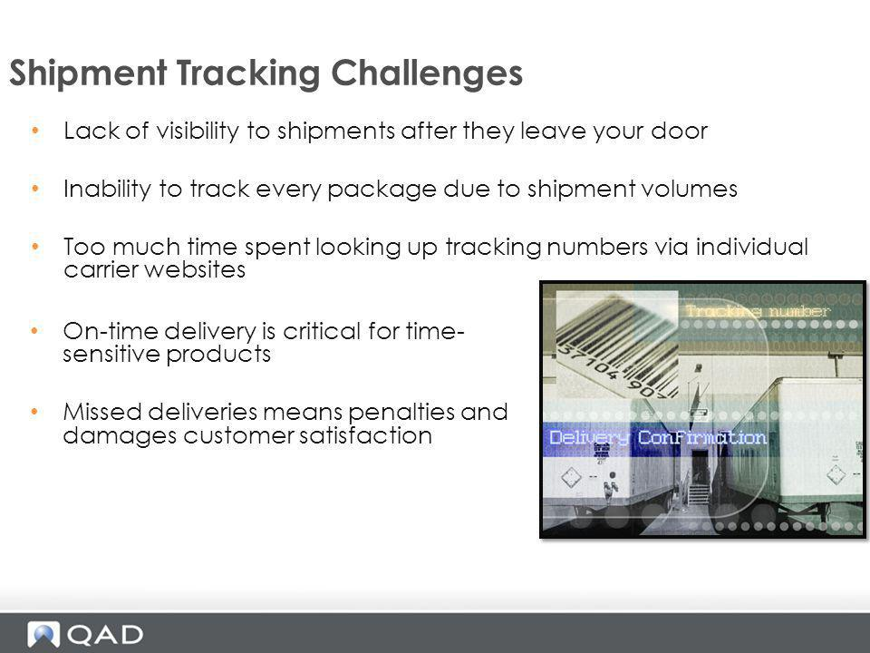 Shipment Tracking Challenges On-time delivery is critical for time- sensitive products Missed deliveries means penalties and damages customer satisfac
