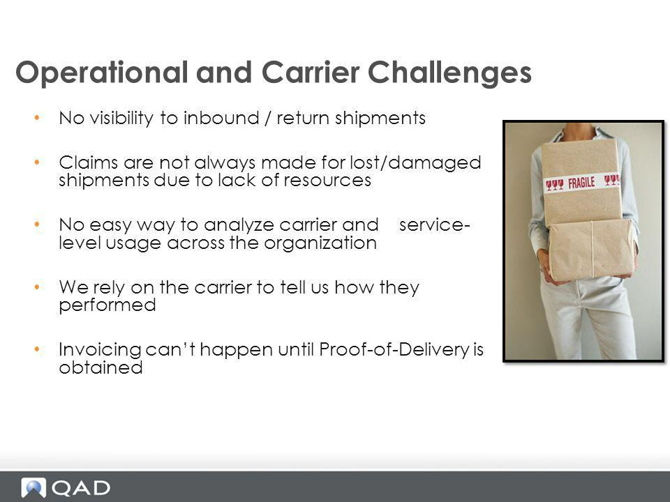 Operational and Carrier Challenges No visibility to inbound / return shipments Claims are not always made for lost/damaged shipments due to lack of re