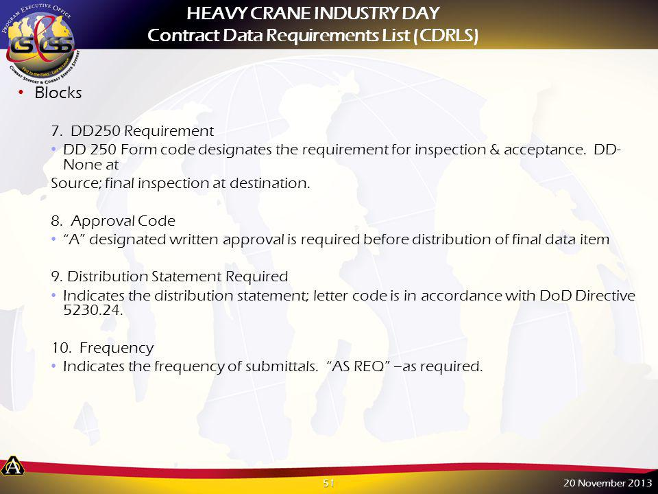Blocks 7. DD250 Requirement DD 250 Form code designates the requirement for inspection & acceptance. DD- None at Source; final inspection at destinati