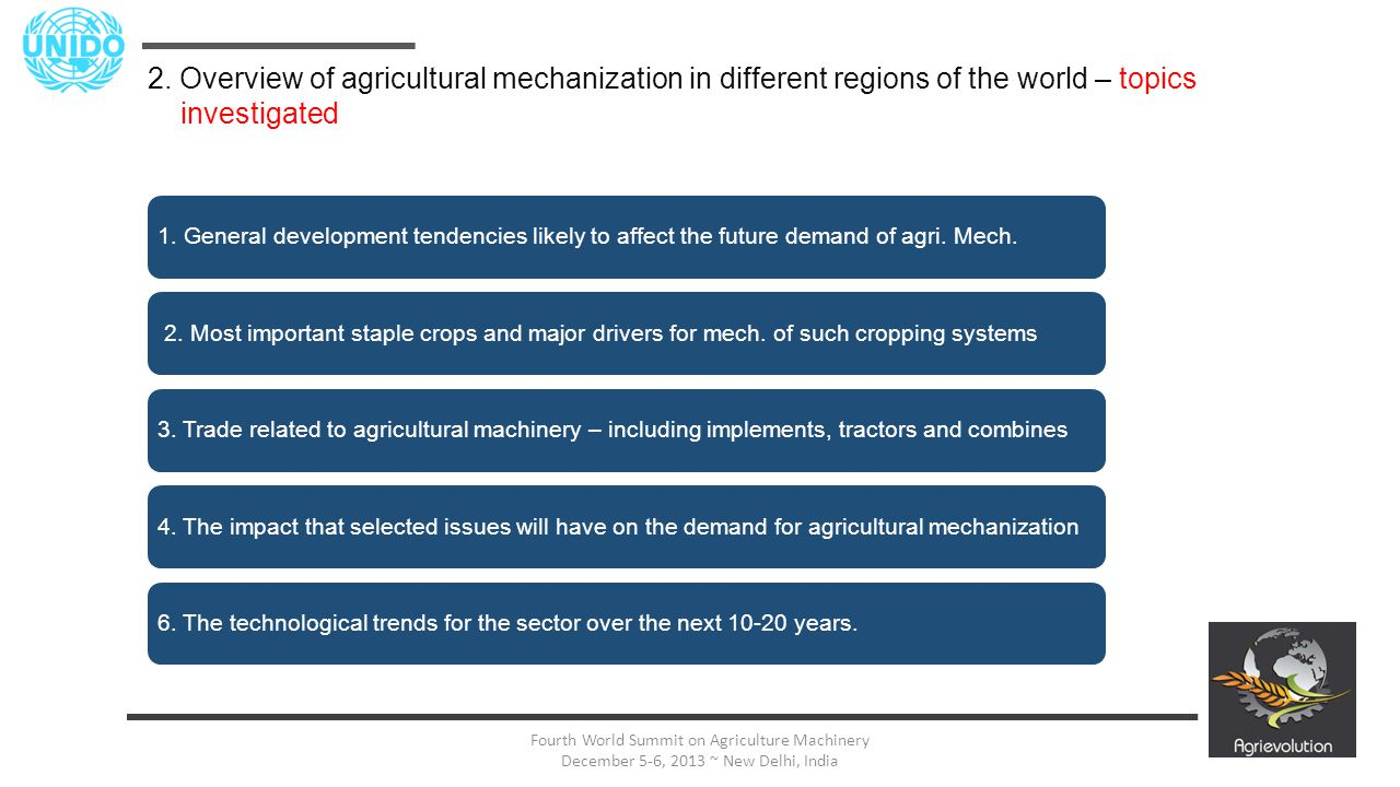13 Fourth World Summit on Agriculture Machinery December 5-6, 2013 ~ New Delhi, India 2. Overview of agricultural mechanization in different regions o