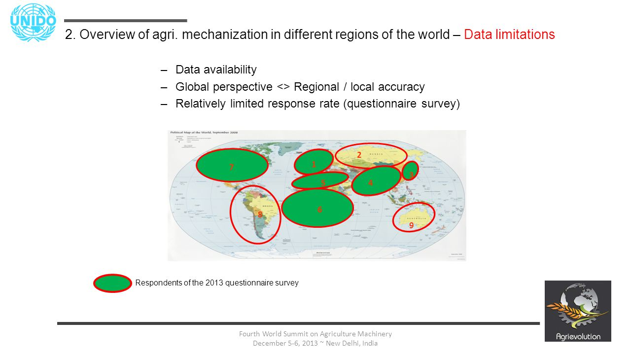 16 Fourth World Summit on Agriculture Machinery December 5-6, 2013 ~ New Delhi, India –Data availability –Global perspective <> Regional / local accur