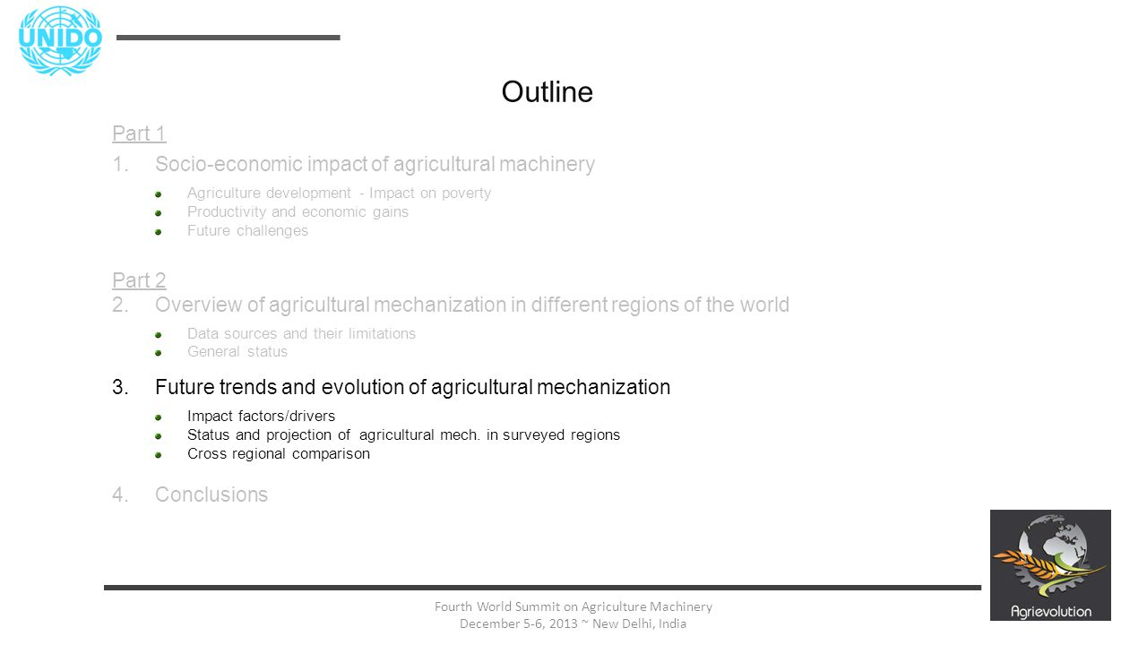 21 Fourth World Summit on Agriculture Machinery December 5-6, 2013 ~ New Delhi, India Outline Part 1 1.Socio-economic impact of agricultural machinery